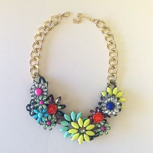 Neon flower bib  Necklace